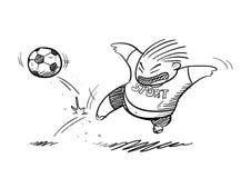 Gros enfant jouant le griffonnage du football illustration de vecteur