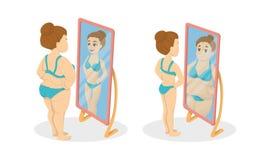 Gros et maigre illustration stock