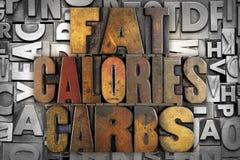 Gros glucides de calories Photo stock