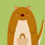 Gros grand kangourou mignon avec le bébé Illustration de Vecteur