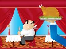 Gros homme affamé drôle attendant un certain poulet illustration de vecteur