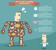 Gros homme avec le docteur, aliments de préparation rapide Format eps10 de vecteur d'Infographic Photos libres de droits