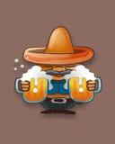 Gros homme avec un chapeau et des pots de bière Photo libre de droits