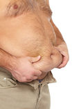 Gros homme avec un grand ventre. Image stock