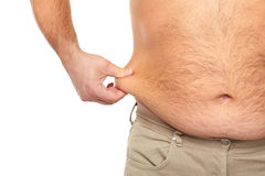 Gros homme avec un grand ventre. Photographie stock libre de droits