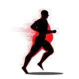 Gros homme de couleur se transformant en mince conçu sur le graphique rouge de fond illustration de vecteur