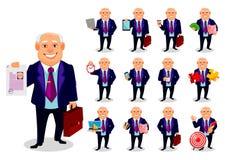 Gros homme gai d'affaires, ensemble illustration stock