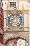 Gros Horloge clock tower. Famous Gros Horloge street with astronomical clock tower, Rouen Royalty Free Stock Photos
