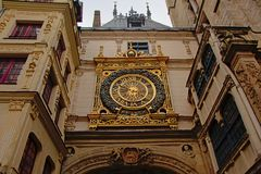 Gros-Horloge monument or Great clock in Rouen. Gros-Horloge or Great clock, renaissance monument. One of the main tourist attractions Rouen, France stock photo