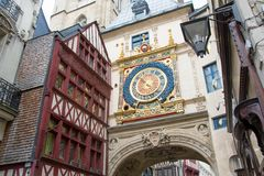 Gros-Horloge, Rouen. View on The Gros-Horloge. An astronomical clock in Rouen, France Stock Photography