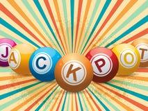 Gros lot de boule de bingo-test sur le rétro starburst illustration libre de droits