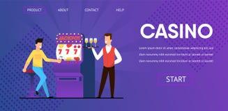 Gros lot de victoire d'homme au serveur de casino avec Champagne illustration libre de droits