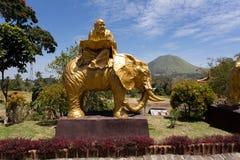 Gros moine sur la statue d'éléphant dans la pagoda complexe Ekayana Photographie stock