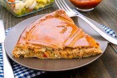Gros morceau de tarte bourré du thon Photos libres de droits