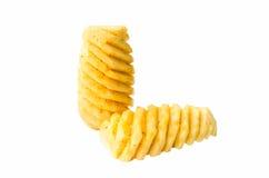 Gros morceaux d'ananas d'isolement sur le blanc, chemin de coupure Images stock