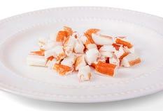 Gros morceaux d'imitation de chair de crabe photos libres de droits