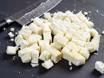 Gros morceaux de fromage de Paneer Photos stock