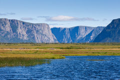 Gros Morne National Park Newfoundland Canada. Wetland pond and table-top mountains landscape in Gros Morne National Park, Newfoundland, Canada royalty free stock photography