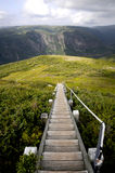 Gros Morne National Park. Steps leading down the gros morne summit Stock Photo