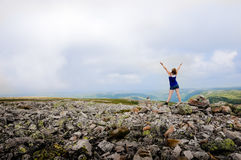 Gros Morne Summit. I made it to the top of Gros Morne Mountain and I can touch the Clouds Stock Image
