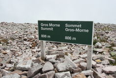 Gros Morne Summit Sign Stock Photos