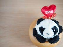 Gros panda rond dans le pot cuit au four d'argile, chute dans l'amour Image stock