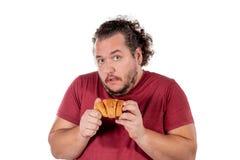 Gros petit croissant mangeur d'hommes drôle sur le fond blanc Bonjour et petit déjeuner photos libres de droits