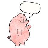gros porc de bande dessinée avec la bulle de la parole Photographie stock libre de droits
