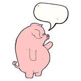 gros porc de bande dessinée avec la bulle de la parole Photo stock