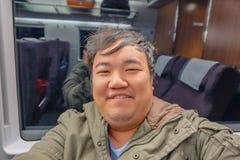 Gros selfie asiatique de voyageur lui-même photographie stock libre de droits