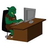 Gros troll d'Internet à l'aide d'un ordinateur Photo stock