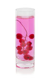 Groseille rouge lumineuse dans un verre, baies pour les smoothies et les cocktails sains et régénérateurs sur un fond blanc Photos libres de droits