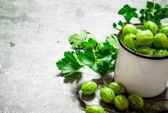 Groseilles à maquereau et feuilles dans une tasse Sur la table en pierre Photo libre de droits