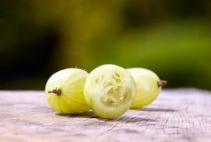 Grosellas espinosas con el fondo verde de la naturaleza Fotografía de archivo