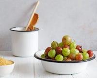 Grosellas espinosas frescas en cuenco esmaltado foto de archivo libre de regalías