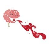 Gross brain retro cartoon character Royalty Free Stock Photography