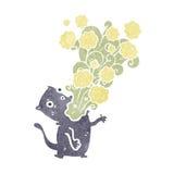 Gross burping cat retro cartoon Royalty Free Stock Photos