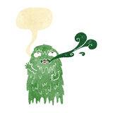 Gross cartoon ghost with speech bubble Royalty Free Stock Photo
