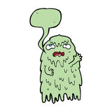 Gross cartoon ghost with speech bubble Stock Images