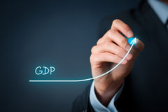 Gross Domestic Product GDP. Gross Domestic Product (GDP) improvement concept. Businessman draw accelerating line of growing gdp stock photos