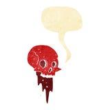 Gross halloween skull cartoon with speech bubble Stock Photo