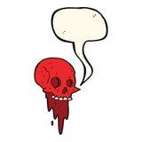 Gross halloween skull cartoon with speech bubble Stock Images