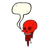 Gross halloween skull cartoon with speech bubble Stock Photos