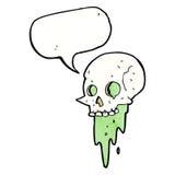 Gross halloween skull cartoon with speech bubble vector illustration