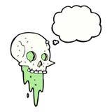 Gross halloween skull cartoon with thought bubble vector illustration