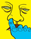 Gross Nose Picking Man Yellow. Humorous illustration of a man picking his nose. Very gross and disgusting.  Looks apathetic and bored Royalty Free Stock Photo