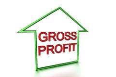 Gross Profit. Insie outline shape of a house which lookes like an arrow on white background Stock Images
