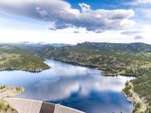 Gross Reservoir Dam in Colorado. Aerial view of Gross Point Reservoir located southwest of Denver Colorado stock photos