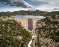 Gross Reservoir Dam in Colorado. Aerial view of Gross Point Reservoir located southwest of Denver Colorado Stock Photo