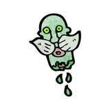 Gross severed zombie head cartoon Stock Image